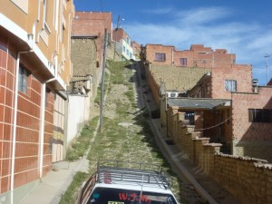 Steep roads in La Paz