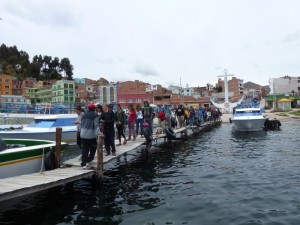 Taking a boat from Copacabana to Isla de Sol