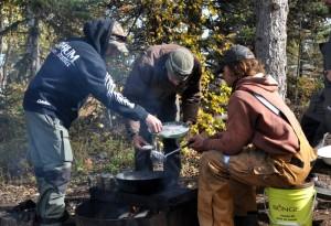 Expedition staff preparing lunch on Ragnar's Island