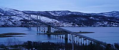 The bridge linking Harstad and Lofoten to the Mainland