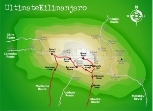 Trekking routes in Kilimanjaro