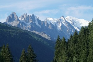 Morning view of Mont Blanc from campsite